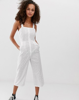 Daisy Street cami jumpsuit in broderie-White