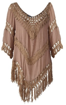 Dorothy Perkins Womens *Izabel London Brown Crochet Beach Cover Up, Brown