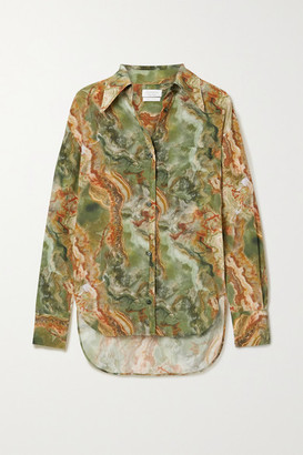 Deveaux Dawn Printed Silk-georgette Blouse - Army green