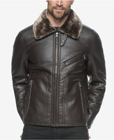 Andrew Marc Men's Lenox Faux-Leather Bomber with Faux-Shearling Lining
