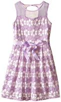 Us Angels Daisy Lace Sleeveless Illusion Sweetheart Bodice w/ Full Skirt (Big Kids)