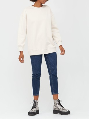 Very The Essential Long Line Crew Neck Sweat - Stone