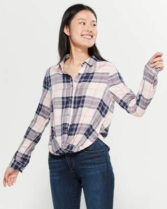 Love Tree Plaid Twist Front Long Sleeve Shirt