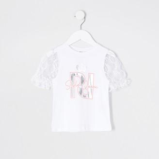 River Island Mini girls White printed puff sleeve t-shirt