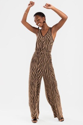 francesca's Westly Tiger Striped Jumpsuit - Taupe