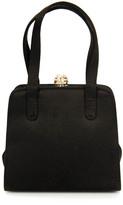 Saks Fifth Avenue Dark Brown Satin Jeweled Mini Clutch Evening Handbag