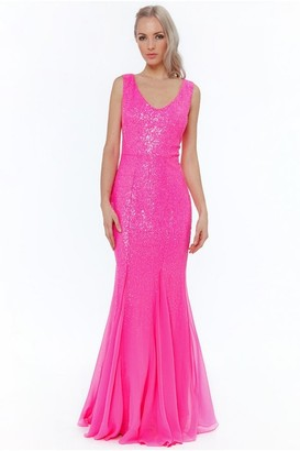 Goddiva Cerise Sequin V-neck Maxi Dress
