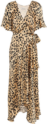 Temperley London Piera Leopard-print Hammered Silk-satin Midi Wrap Dress