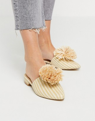 Truffle Collection pom flat mules in beige