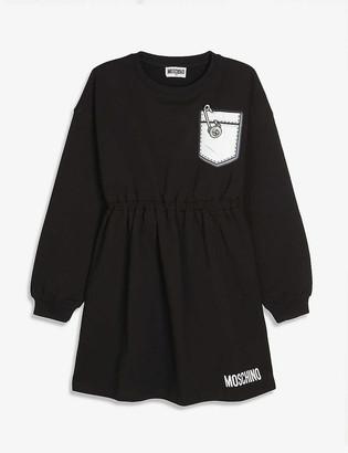 Moschino Safety pin-print cotton sweatshirt dress 4-14 years