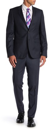 Thomas Pink Hamilton Navy Black Two Button Notch Lapel Virgin Wool Trim Fit Suit