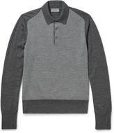 Canali - Contrast-panelled Wool Polo Shirt
