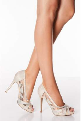 Quiz Gold Diamante Mesh Peep Toe Heels