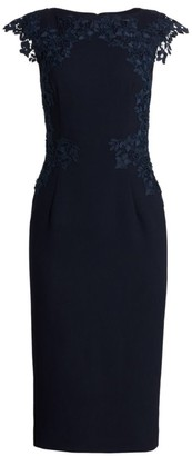 Lela Rose Embroidered-Lace Crepe Shift Dress