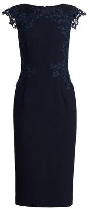 Lela Rose Embroidered-Lace Crepe Shift Dress