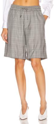 R 13 Baggy Short in Grey Plaid | FWRD