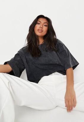 Missguided Grey Drop Shoulder Oversized Washed Top