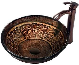 VIGO Golden Greek Glass Circular Vessel Bathroom Sink with Faucet VIGO Sink Finish: Golden Greek, Faucet Finish: Oil Rubbed Bronze, Drain Finish: Oil Rubbe
