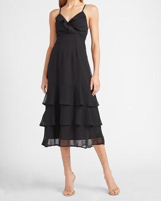 Express Clip Dot Tiered Ruffle Wrap Midi Dress