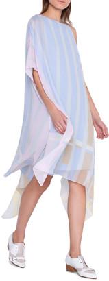 Akris Striped Silk Georgette One-Shoulder Caftan