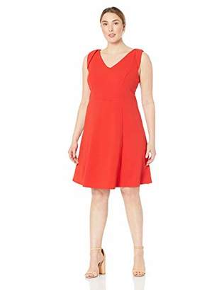 London Times Women's Plus Size V Neck FIT and Flare Dress