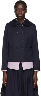 COMME DES GARÇONS GIRL Navy Wool Gabardine Jacket