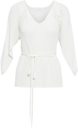 See by Chloe Belted Lace-trimmed Ribbed Cotton-blend Sweater