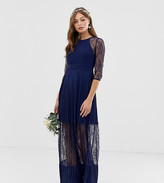 TFNC bridesmaid exclusive pleated maxi dress with lace insert in navy
