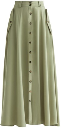 Paisie Flo Maxi Skirt In Olive Green