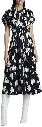 Proenza Schouler Pleated Floral-Print Midi Dress