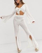 Asos Design DESIGN bridal flared beach pants in embellishment two-piece