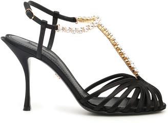 Dolce & Gabbana CRYSTAL BETTE SANDALS 36 Black Leather, Silk