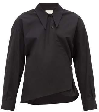 Lemaire Point-collar Cotton-poplin Wrap Shirt - Womens - Navy