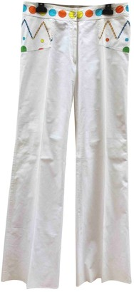 Oleg Cassini White Cotton Trousers for Women