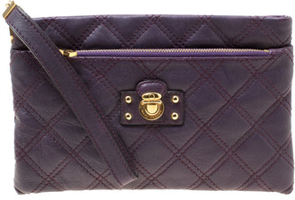 Marc Jacobs Purple Quilted Leather Wristlet Clutch