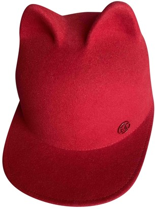 Maison Michel Red Wool Hats