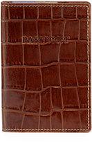 Neiman Marcus Alligator-Embossed Leather Passport Wallet, Cognac