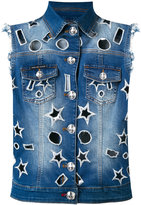 Philipp Plein cut-out denim gilet - women - Cotton/Spandex/Elastane - S