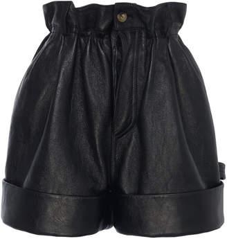Miu Miu Pleated Leather Shorts