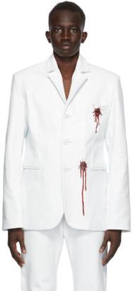 Mowalola White Leather Bloody Blazer