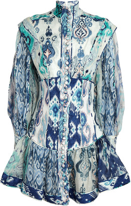 Zimmermann Glassy Balloon Sleeve Printed Mini Dress