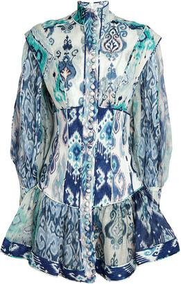 Zimmermann Glassy Printed Linen Mini Dress