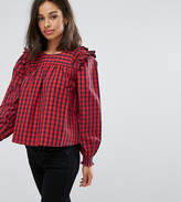 Asos Check Smock Top with Ruffle Detail