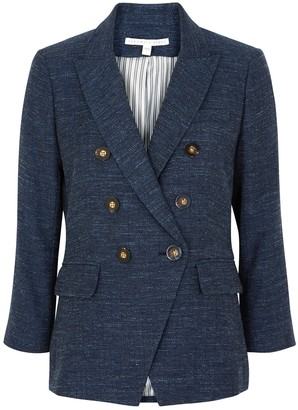 Veronica Beard Empire Double-breasted Denim-effect Blazer