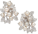 Nina Faux-Pearl & Crystal Clip-On Stud Earrings