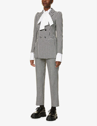RED Valentino Vichy gingham double-breasted woven jacket