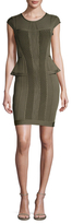 Herve Leger Pointelle Knit Cap Sleeve Sheath Dress