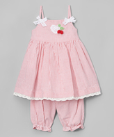 Laura Ashley Pink Stripe Bow Dress & Bloomers - Infant