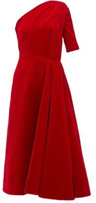 Emilia Wickstead Jenna One-shoulder Cotton-velvet Midi Dress - Red
