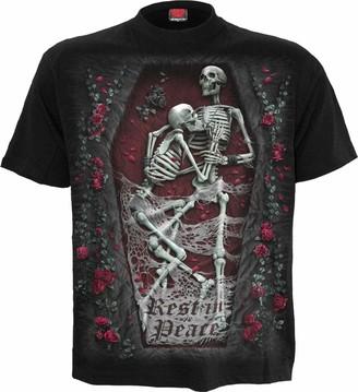 Spiral Direct Women's Tribal Rose-Cold Shoulder Goth Bottom Top T-Shirt
